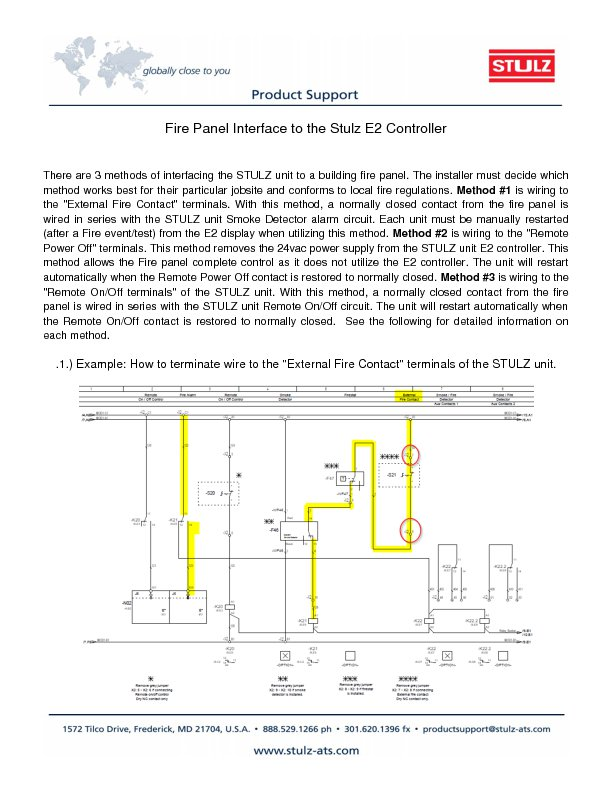 faq stulz usa how does the e2 controller wire to the building fire panel